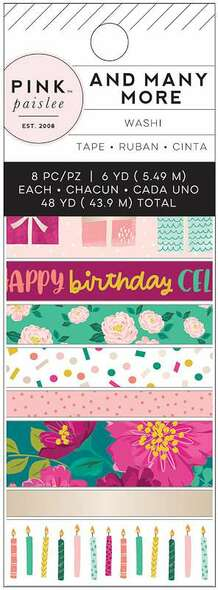 And Many More Washi Tape 8/Pkg W/Champagne Foil Accents