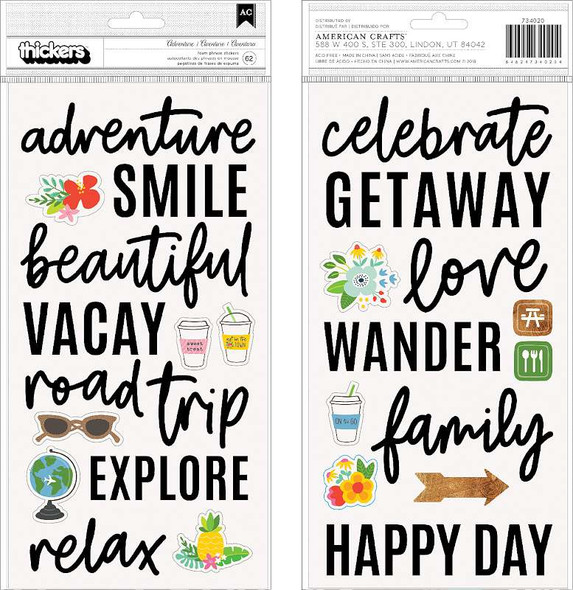 """Chasing Adventures Thickers Stickers 5.5""""X11"""" 62/Pkg Phrase & Icon/Black Foam"""