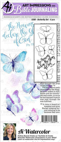 Art Impressions Bible Journaling Watercolor Rubber Stamps Butterfly