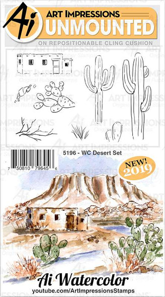 Art Impressions Watercolor Cling Rubber Stamps WC Desert