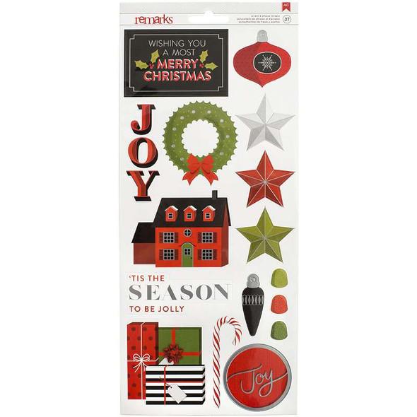"Deck The Halls Remarks Cardstock Stickers 6""X12"" 2/Pkg 'Tis The Season W/Silver Foil"