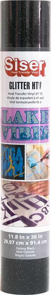 "Siser Glitter HTV Vinyl 11.8""X36"" Roll Galaxy Black"