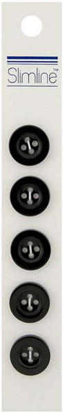 "Slimline Buttons  Black 4-Hole 5/8"" 5/Pkg"