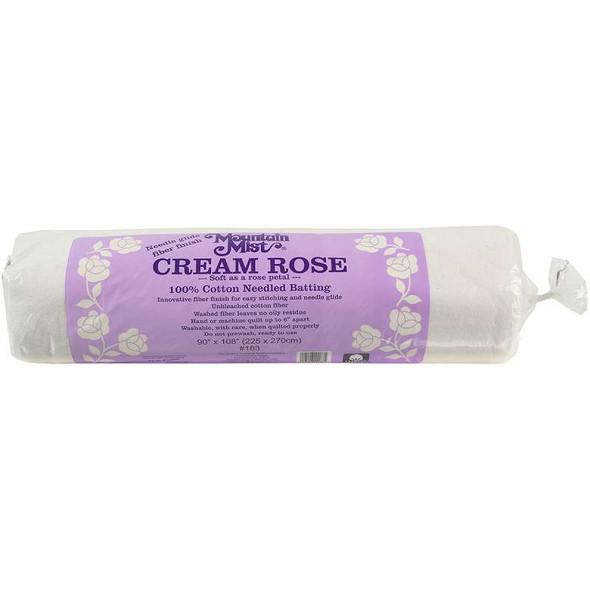 "Mountain Mist Cream Rose Cotton Needlepunch Batting Queen Size 90""X108"" FOB: MI"