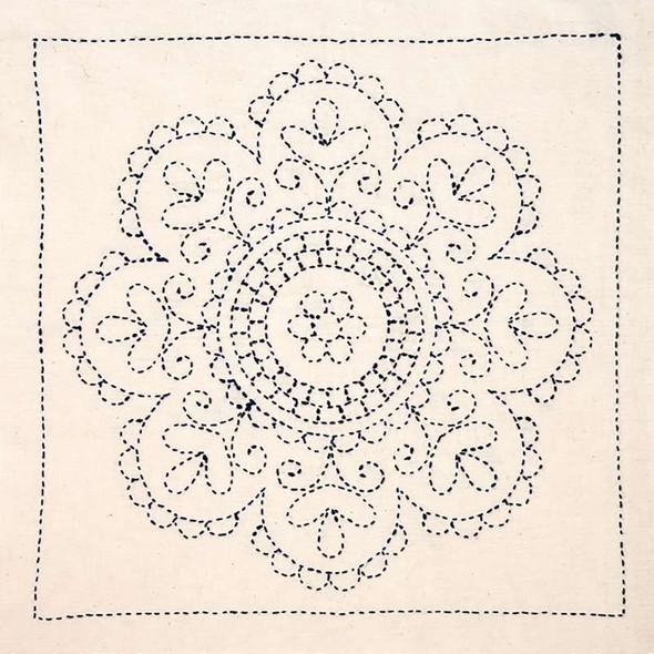 Sashiko World Hungary Stamped Embroidery Kit Rose Medallion