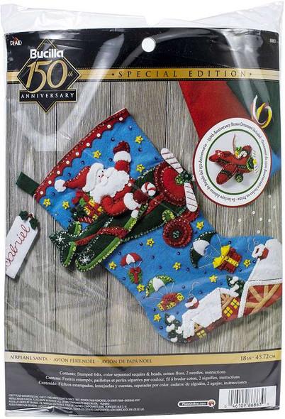 "Bucilla Felt Stocking Applique Kit 18"" Long Airplane Santa"