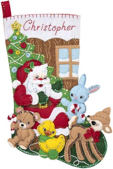 """Bucilla Felt Stocking Applique Kit 18"""" Long Toys From Santa"""