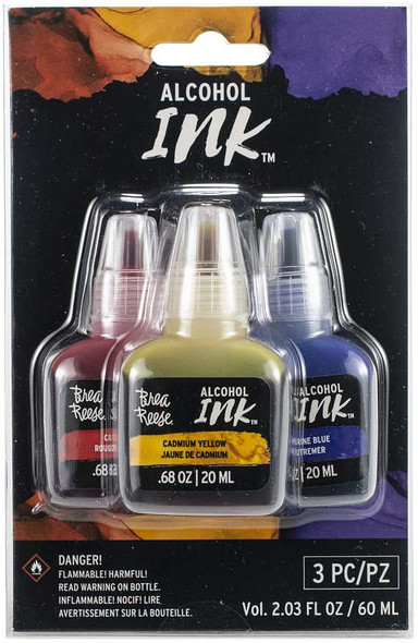 Brea Reese Alcohol Inks 20ml 3/Pkg Cadmium Red/Cadmium Yellow/Ultramarine