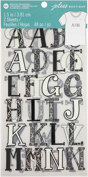 """Jolee's  Iron-On Letters 1.5"""" Black & White"""