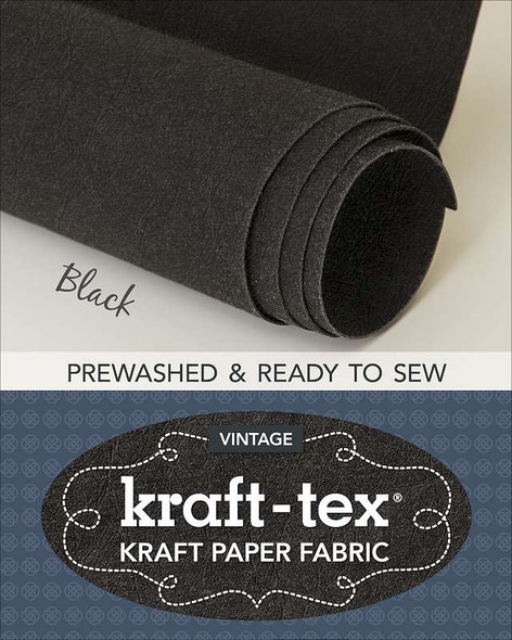 "kraft-tex Prewashed Roll Vintage Collection 18.5""X28.5"" Black"