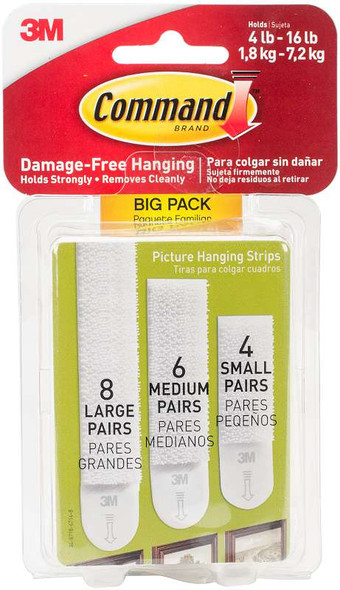 Command Assorted Picture Hanging Strips Big Pack Assorted (8 Large, 6 Medium, 4 Small)