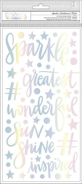 """Shimelle Sparkle City Thickers Stickers 5.5""""X11"""" 101/Pkg Sparkle Phrases & Icons/Foam"""