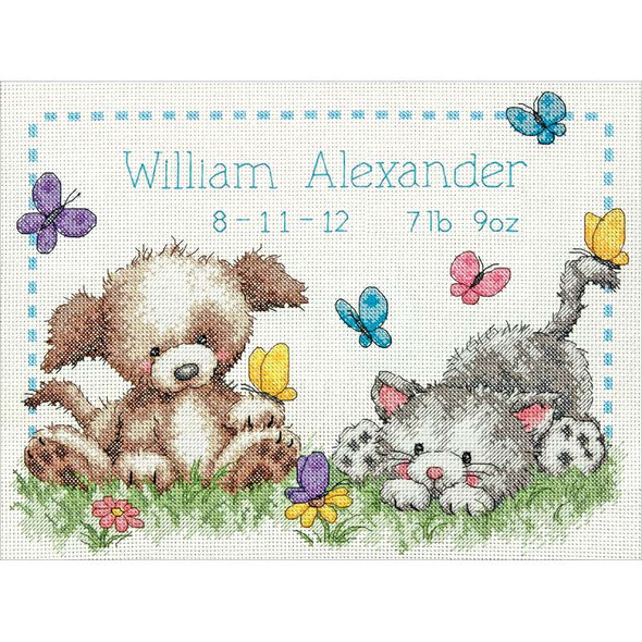 """Pet Friends Birth Record Counted Cross Stitch Kit 12""""X9"""" 14 Count"""