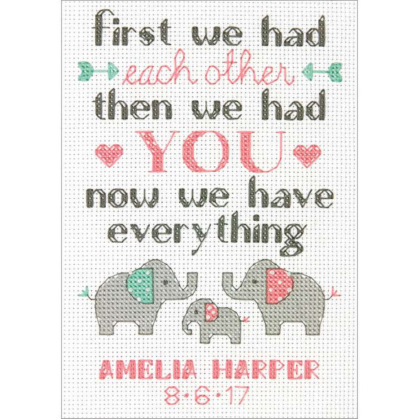 """Family Birth Record Counted Cross Stitch Kit 5""""X7"""" 14 Count"""