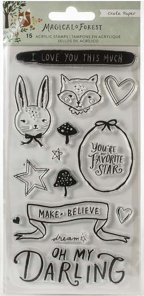 Magical Forest Acrylic Clear Stamps 15/Pkg