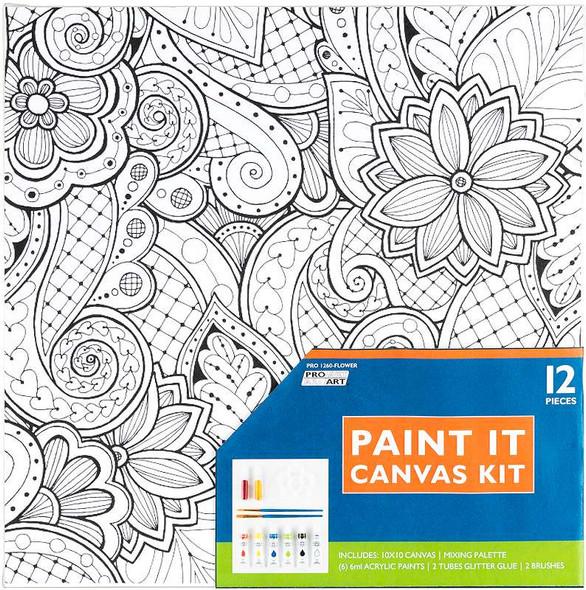 """Pro Art Paint-It Canvas Kit 10""""X10"""" Flower"""