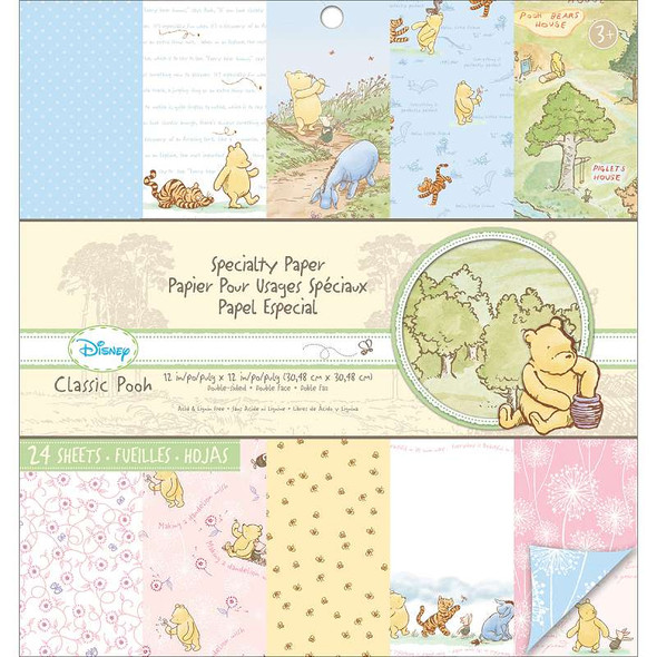 """Disney Specialty Double-Sided Paper Pad 12""""X12"""" Classic Pooh 24 Sheets"""