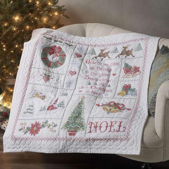 "Bucilla Stamped Cross Stitch Lap Quilt 45""X45"" Christmas Sampler"