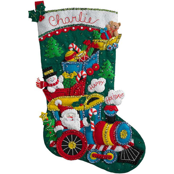 "Choo Choo Santa Stocking Felt Applique Kit 18"" Long"