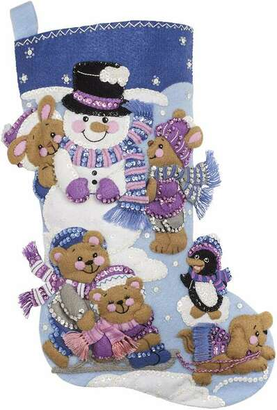 """Bucilla Felt Stocking Applique Kit 18"""" Long Playing In The Snow"""