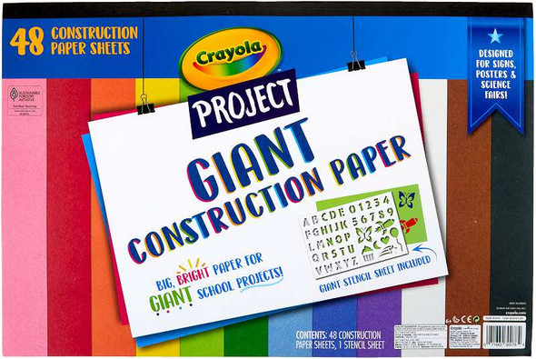 "Crayola Project Giant Construction Paper 12""X18"" 48 Sheets - Assorted Colors W/Stencils"