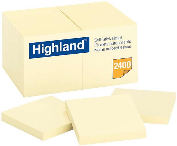 "Highland Notes 3""X3"" 24/Pkg Yellow, 100 Sheets Per Pad"