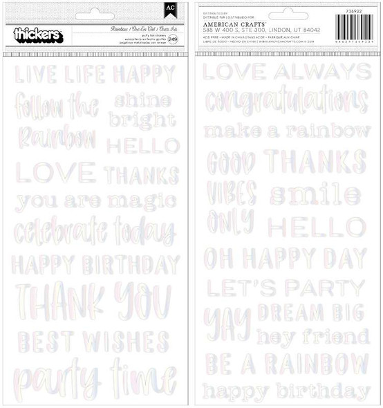 """Live Life Happy Thickers Stickers 5.5""""X11"""" 249/Pkg Phrase/Puffy"""