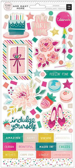 """And Many More Cardstock Stickers 6""""X12"""" 119/Pkg W/Champagne Foil Accents"""