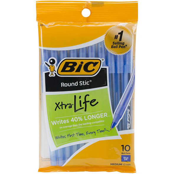 Bic Round Stic Medium Ballpoint Pens 10/Pkg Blue