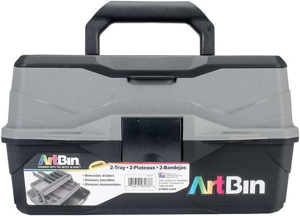 "ArtBin Lift Tray Box W/2 Trays & Quick Access Lid Storage 8""X14""X7.5"", Black & Gray"