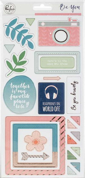 """Be You Chipboard Stickers 5.5""""X11"""" 2/Pkg"""