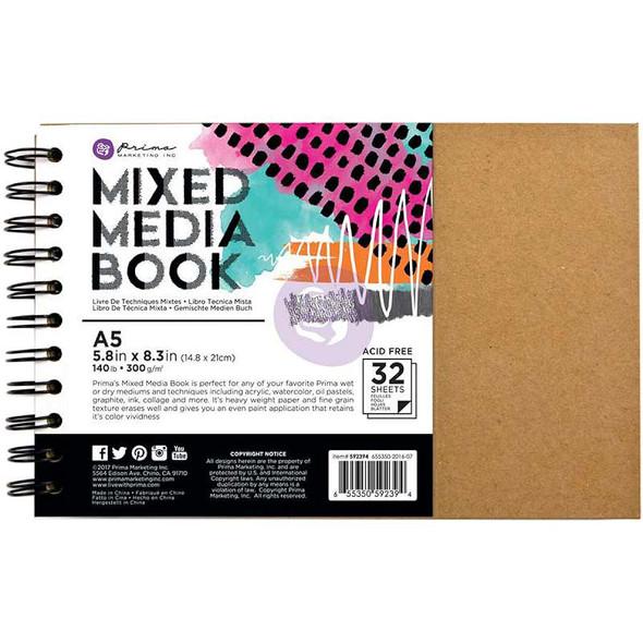 Prima Mixed Media A5 Spiral Bound Kraft Book W/32 Sheets