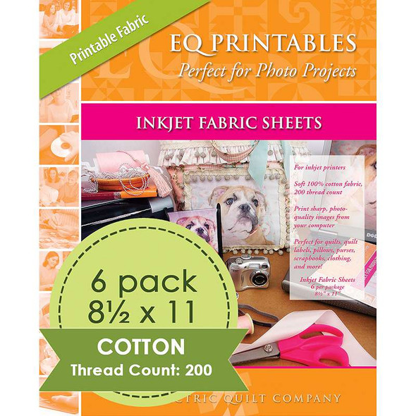 "Inkjet Printable Fabric Sheets 8.5""X11"" 6/Pkg Warm White"