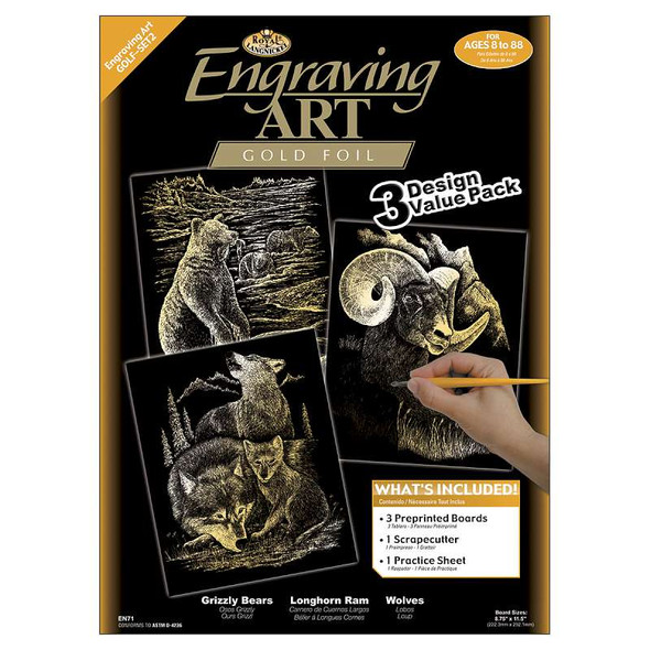 """Foil Engraving Art Kit Value Pack 8.75""""X11.5"""" Gold - Grizzly Bears, Rams & Wolves"""