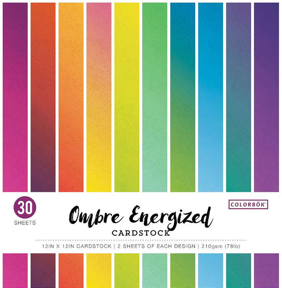 """Colorbok 78lb Single-Sided Printed Cardstock 12""""X12"""" 30/Pkg Ombre Energized, 15 Colors/2 Each"""