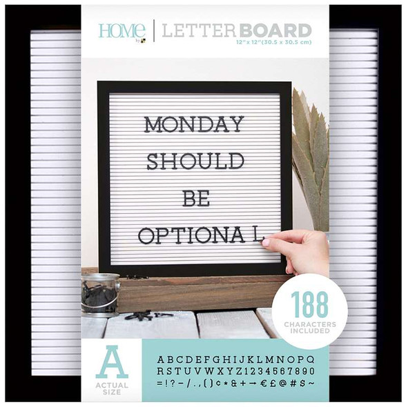 "DCWV Framed Letterboard 12""X12"" Black W/White"
