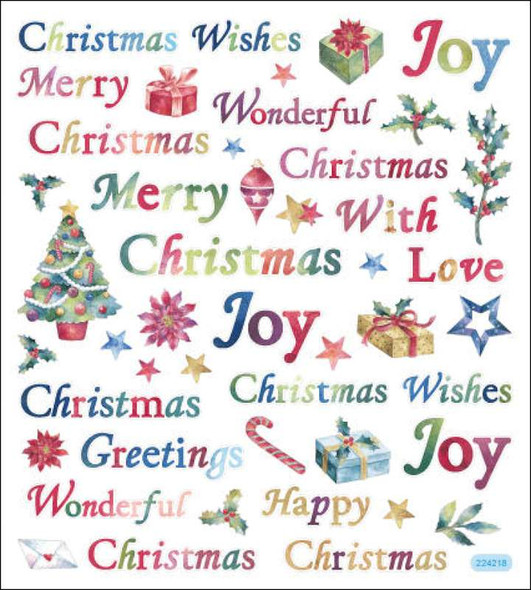 Multicolored Stickers Christmas Wishes