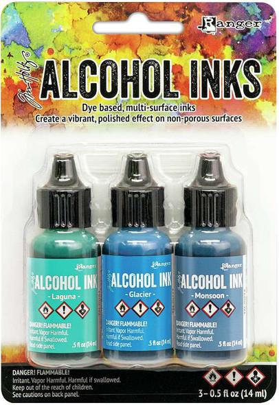 Tim Holtz Alcohol Ink .5oz 3/Pkg Teal/Blue Spectrum