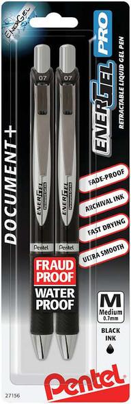 Pentel EnerGel PRO Permenant Gel Pen .7mm 2/Pkg Black