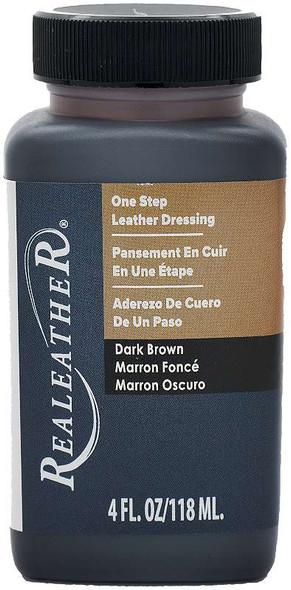 Realeather Crafts One Step Leather Dressing 4oz. Dark Brown