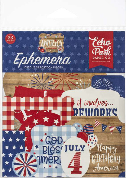 Echo Park Cardstock Ephemera 33/Pkg America