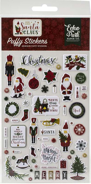 Here Comes Santa Claus Puffy Stickers