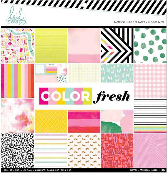 "Heidi Swapp Single-Sided Paper Pad 12""X12"" 36/Pkg Color Fresh, 24 Designs"