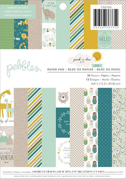 "Pebbles Single-Sided Paper Pad 6""X8"" 36/Pkg Peek-A-Boo You Boy, 12 Designs/3 Each"