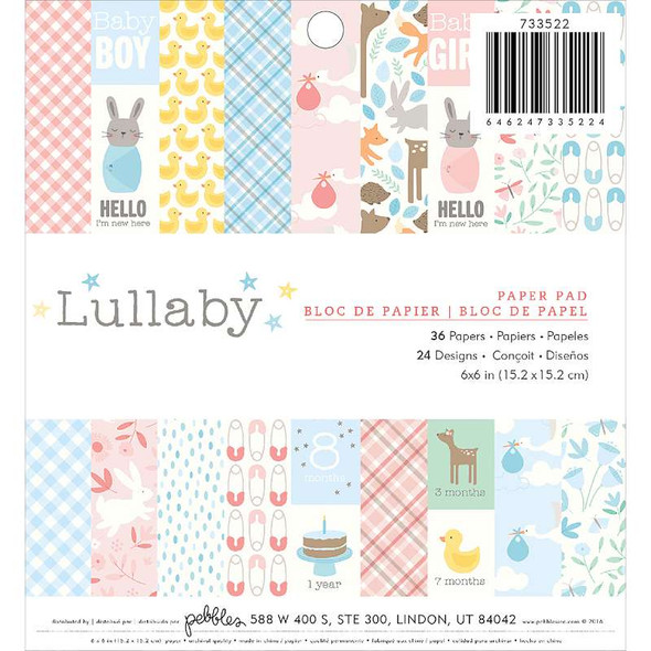 """Pebbles Single-Sided Paper Pad 6""""X6"""" 36/Pkg Lullaby"""