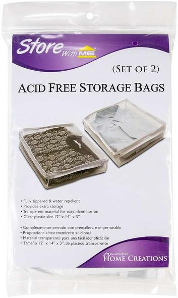 "Innovative Home Creations Acid-Free Storage Bag 2/Pkg 12""X14""X3"" Clear Plastic"