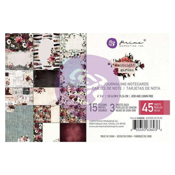 "Midnight Garden Journaling Cards Pad 4""X6"" 45/Pkg 15 Designs/3 Each"