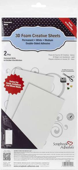 "Scrapbook Adhesives 3D Foam Creative Sheets 2/Pkg White 6""X12"""