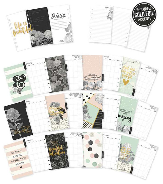 Carpe Diem Beautiful Double-Sided Personal Planner Inserts Monthly, Undated