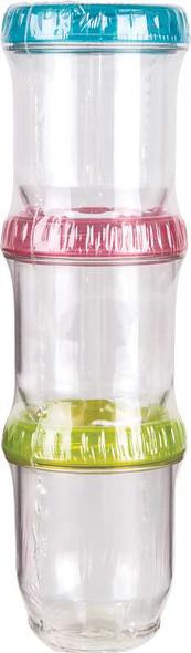 ArtBin Twisterz Jar Set Small/Tall 3/Pkg Multi-Colored Lids